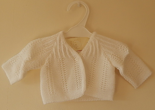 Girls tiny baby clothes cardigan WHITE 5-8lb LITTLE LADY