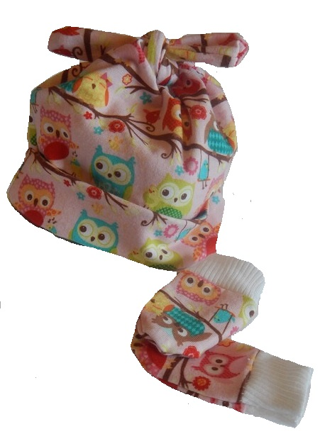 girls prem baby hats trendy Designer knotted hat mitts OLIVIA OWL premature 3-5lb