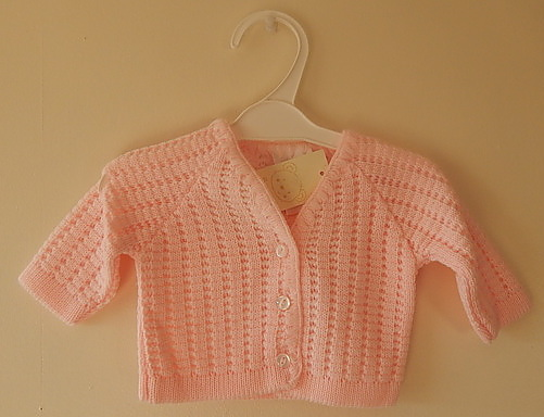 premature clothes tiny Cardigan knitted cute in pink BELLISAMO sizes 5-8lb