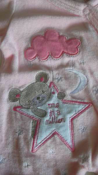 PINK premature baby clothes first sleepsuit girls OVER THE MOON 3-5LB