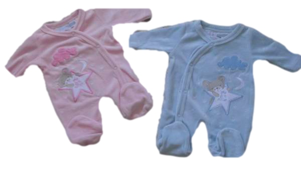 BLUE Premature premature baby grow velour OVER THE MOON design 5-8lb