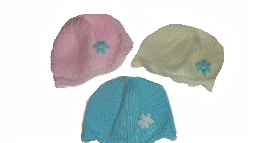 girls tiny baby clothes cute knitted beanie hat pretty petals 3-5lb