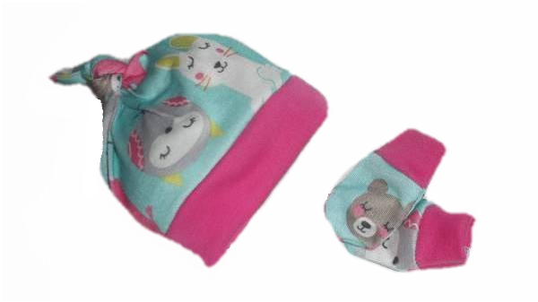 premature baby clothes girls knot hat mittens FOREST FRIENDS 5-8lb