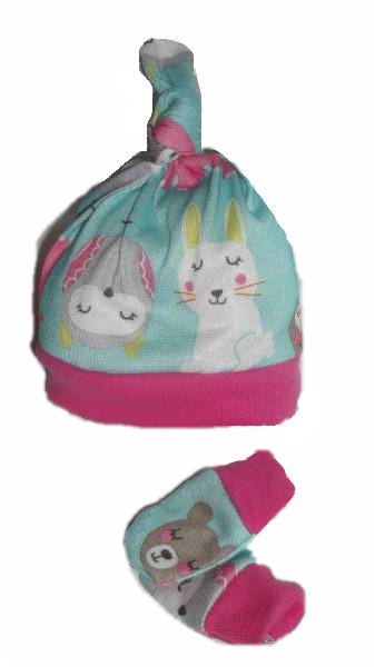 premature baby clothes  babies knot hat mittens FOREST FRIENDS 3-5lb