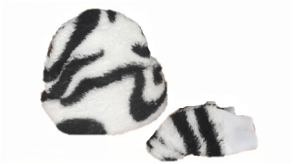 winter premature baby clothes  hat and mittens ZEBRA PRINT fleece 3-5lb