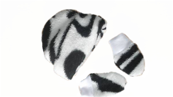 boys premature baby hat and mittens ZEBRA PRINT fleece 3-5lb