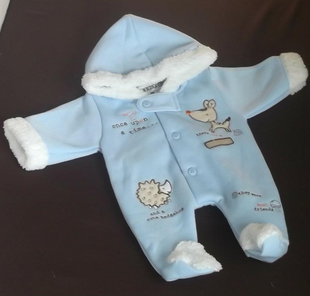 blue Premature baby coat SNOWSUIT earlybaby HEDGEHOG + FRIENDS 2-2.5KG