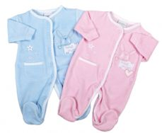 boys premature baby clothes VELOUR sleepsuit 5-8lb size daydream bunny blue