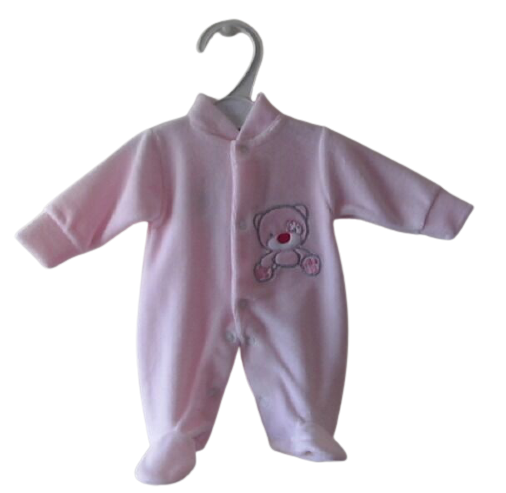 girls cute premature baby clothes pink velour sleepsuit 3 - 5 lb HELLO BEAR