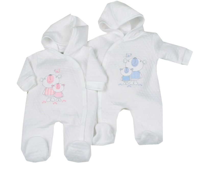 tiny baby coats pramsuit CUDDLES BEAR  white with blue ted