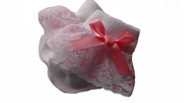 premature babies frilly socks ROMANY W/PINK FRILL 5-8lb