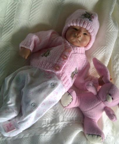 premature baby cardigan PINK tiny BOO BOO BEAR 2-3LB nanas gift