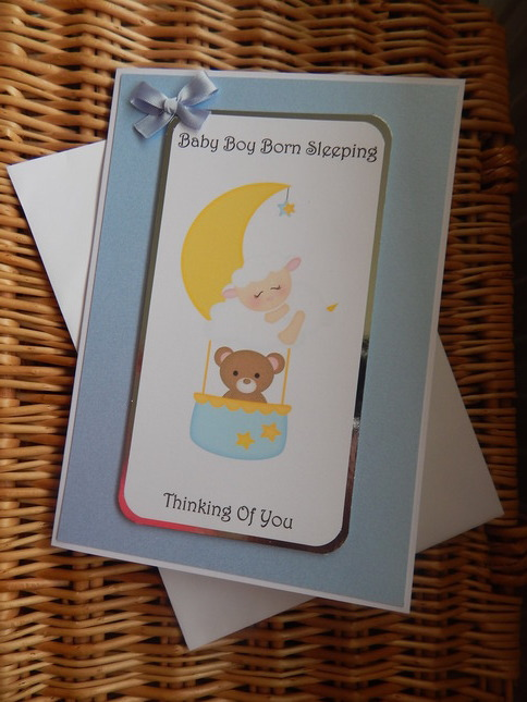 baby bereavement cards infant BOY condolence message blue BEYOND THE STARS