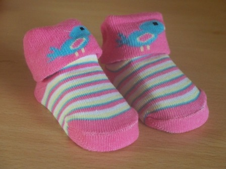 tiny newborn baby girls socks  000 5-8lb PINK TWITTER BIRDS