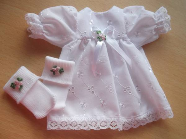 girls Micro premature baby bereavement clothes dress SWEET ROSES 16CM