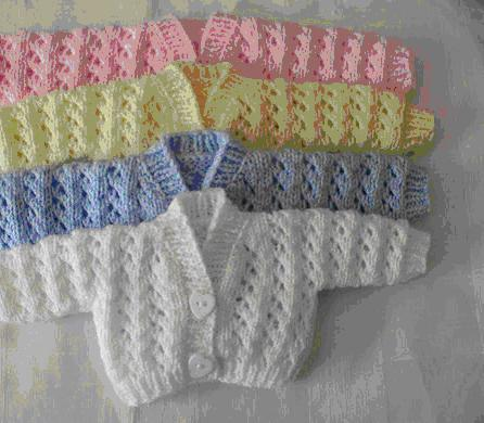 ADORABLE  Early baby clothes hand knitted cardigan LITTLE LUV 2-3lb LEMON