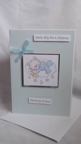 Baby sympathy card BABIES bereavement card Blue IN THE CLOUDS