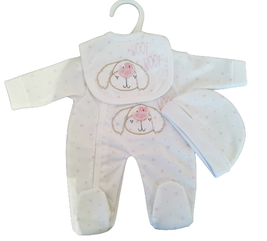 early baby clothes 2-3lb girls full set BOW WOW white pink