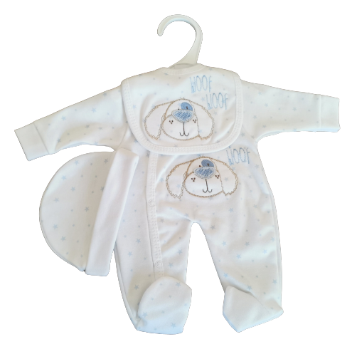 early baby clothes 2-3lb boys full outfit BOW WOW white and blue