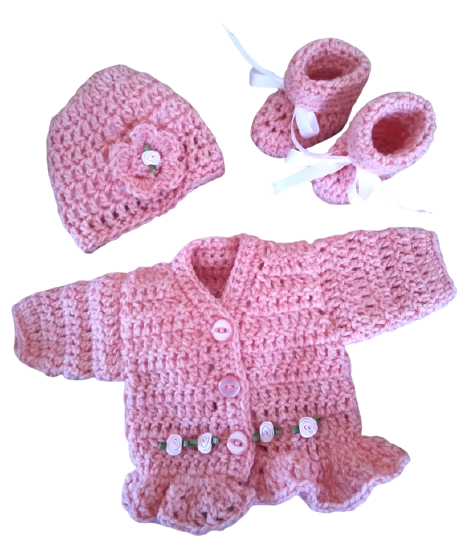 early baby clothes premature sized cardigan hat booties LITTLE ROSIE 2-3lb