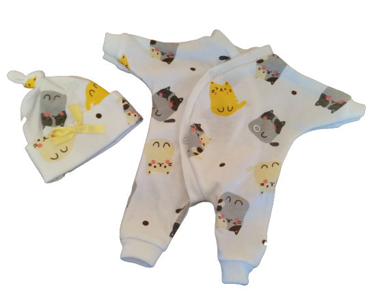 early baby clothes 2-3lb size 2 piece outfit unisex KITTY KAT