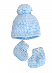 .early babies clothes crochet hat and baby shoes 2-4lb colour BLUE