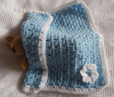 SMALLEST infant burial Blankets Baby Boy Crochet LITTLE BLOOM Blue born 22-24 week