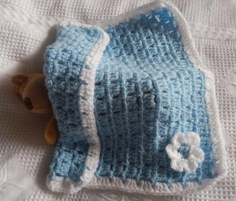 SMALLEST infant burial Blankets Baby Boy Crochet LITTLE BLOOM Blue born 22-24 week