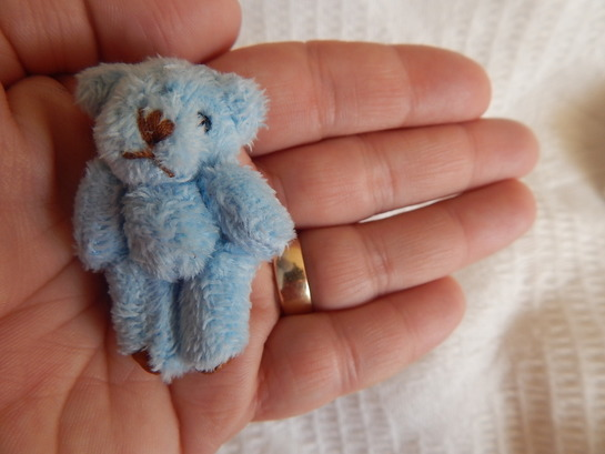 Bereavement little teddy bears baby keepsake box 4.5cm BLUE Merino so tiny