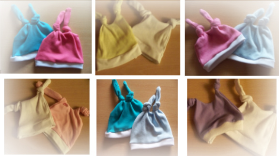 Premature baby double knot hat pack 2 all cols size1-3lb