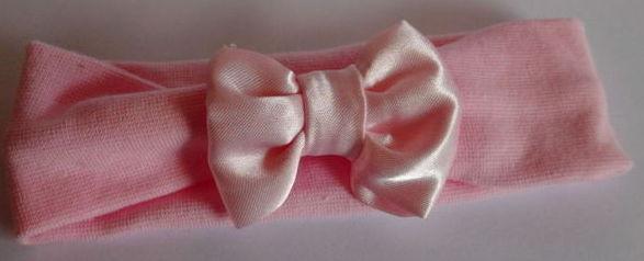 Premature baby Headband PINK SATIN BOW 3-5lb