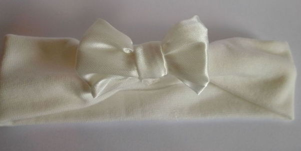 Premature baby Headband CREAM SATIN BOW 3-5lb