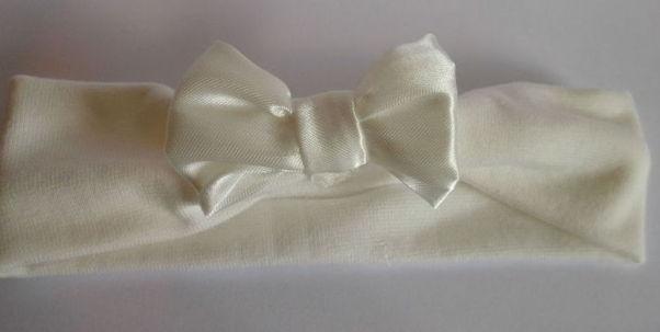 Premature baby Headband CREAM SATIN BOW 5-8lb