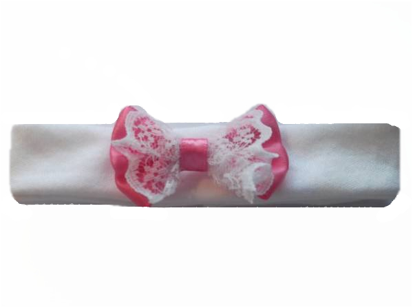 premature baby headbands  FRILLY LACE 3-5lb Cerise Pink tiny headband