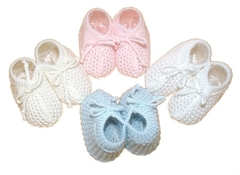 knitted baby booties boys premature in 3-5lb BLUE TIES