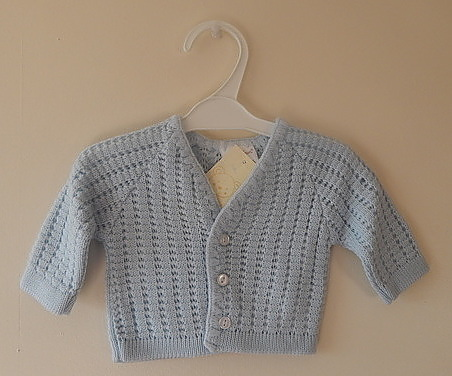 tiny baby clothes Cardigan knitted blue boys BELLISAMO 5-8lb