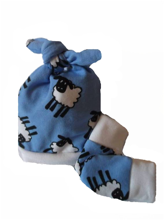 premature baby clothes accessories pack Hat n Scratch mittens LITTLE LAMB Blue 3-5lb