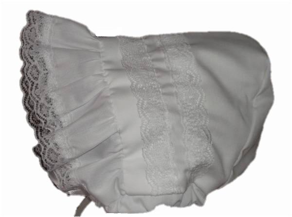 premature baby girls sun bonnet cute hats  LACEY bonnet WHITE 3-5LB