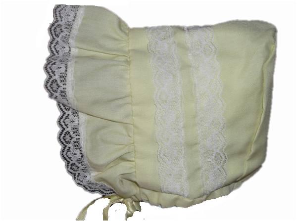 premature baby girl bonnet sun hat small baby lacey LEMON 5-8LB