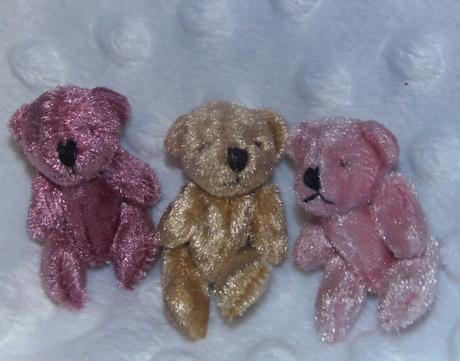 babies memory box tiny teddy bears Bereavement velvet DUSKY DOO PINK 4.5CM