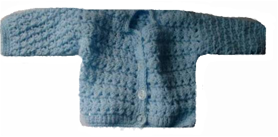 tiny micro premature babies cardigan BLUE little Precious CROCHET 2-3LB