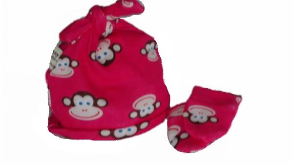 Nanny Nicu prem baby tie knot hat set CHEEKY CHIMP pink  3lb - 5lb