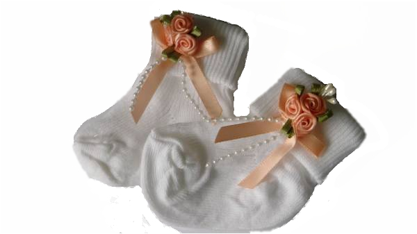 tiny newborn baby girls socks pretty peachy roses 000 5-8LB