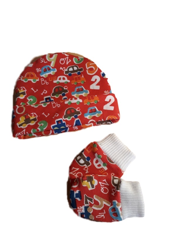 cutest premature baby clothes accessories baby Hat mittens COUNTING CARS 3-5lb