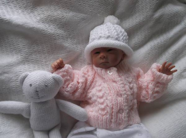 Titch premature baby cardigans PASTELS PEACH  2.0-2.5kg or 3-5LB.