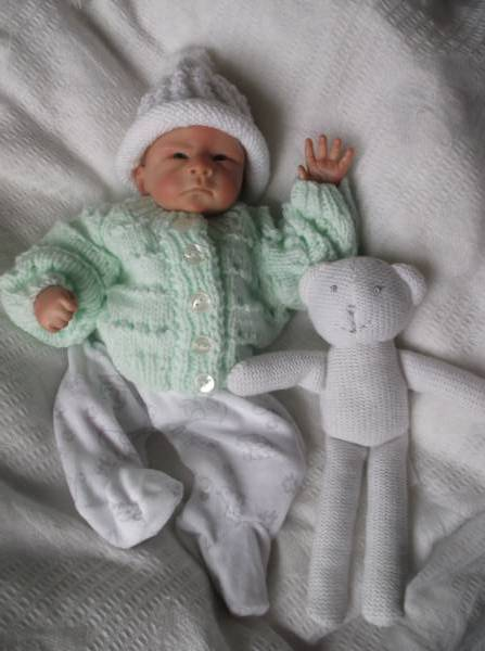 3-5lb premature baby clothes Mint  PASTEL cardigans here