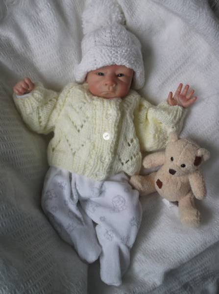 Titch premature baby cardigans PASTELS lemon 2.0-2.5kg or 3-5LB.