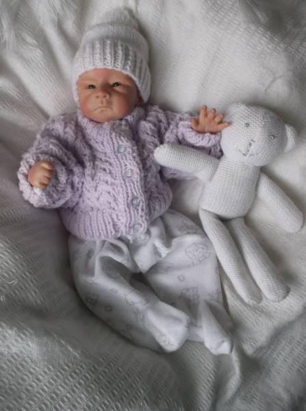 Titch premature baby cardigans PASTELS lilac 2.0-2.5kg or 3-5Lb