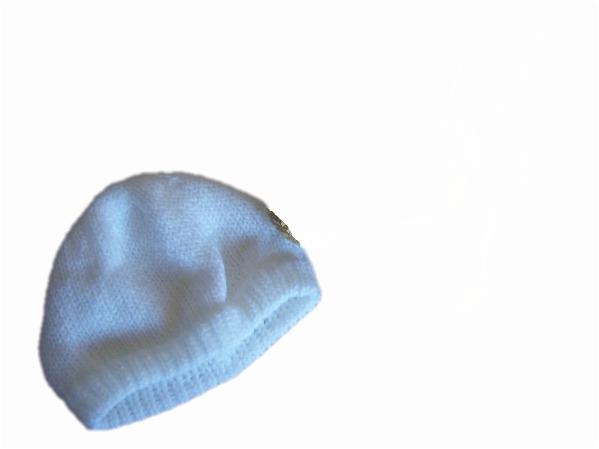Machine knit preterm baby beanie hats premature babies hat  2-3lb  WHITE