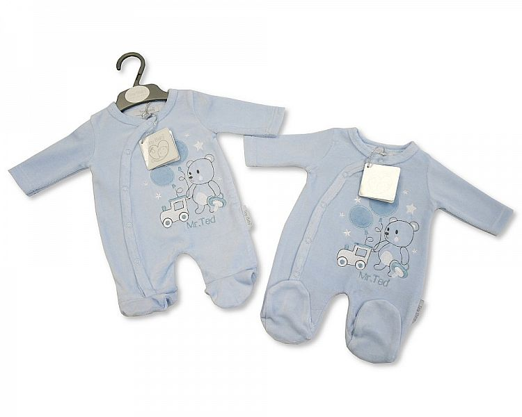 Blue Micro Premature baby clothes babygrow sleepsuit TINY TED 3-4lb